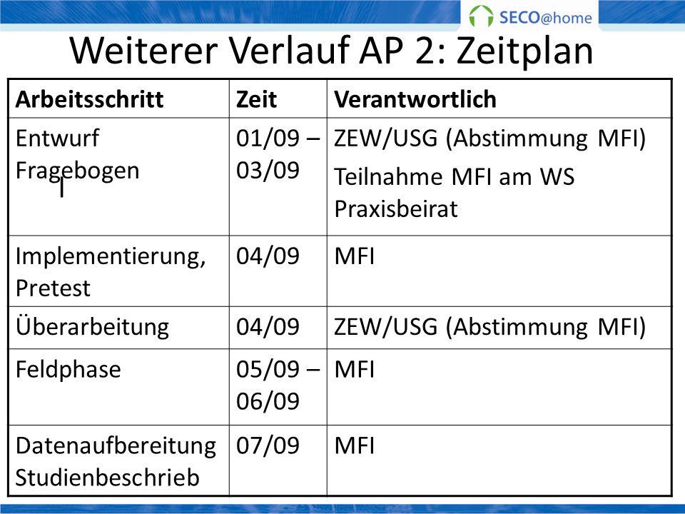 Weiterer Verlauf AP 2: Zeitplan