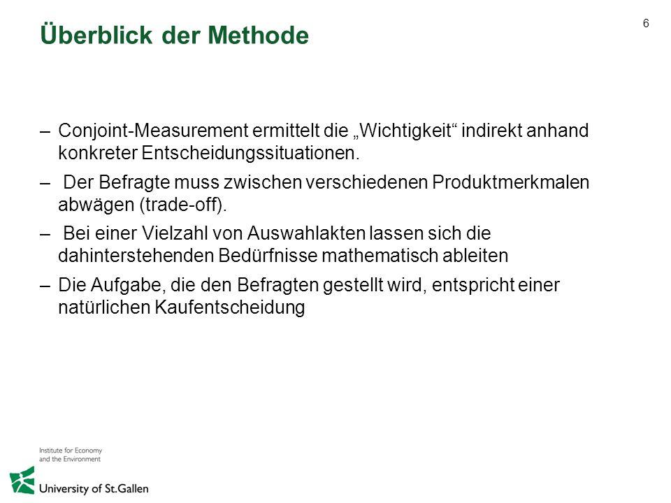 """Überblick der Methode Conjoint-Measurement ermittelt die """"Wichtigkeit indirekt anhand konkreter Entscheidungssituationen."""