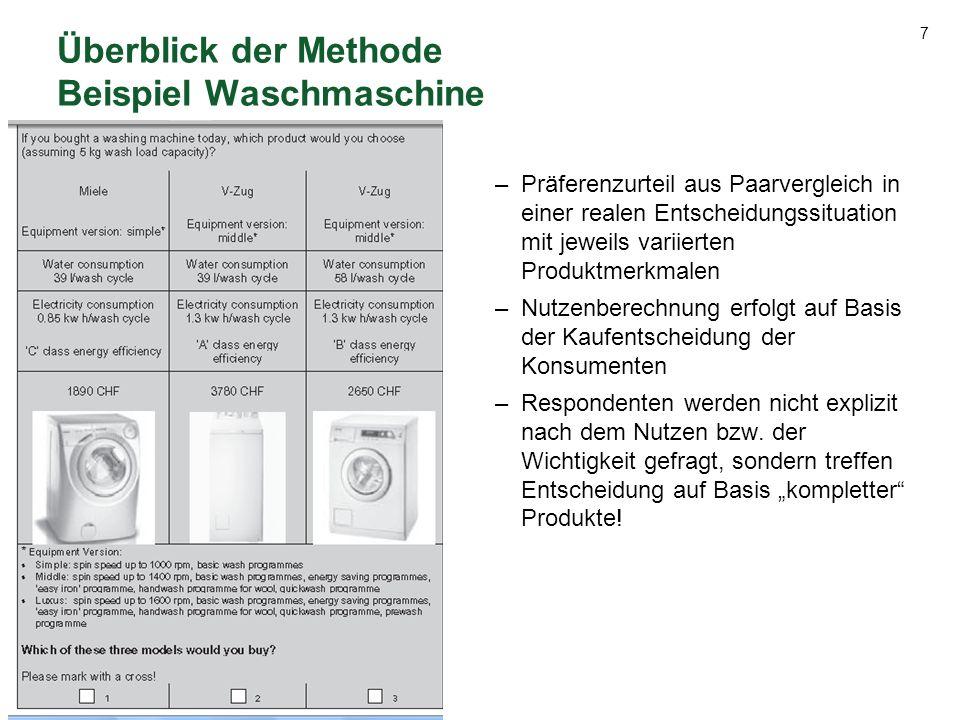 Überblick der Methode Beispiel Waschmaschine