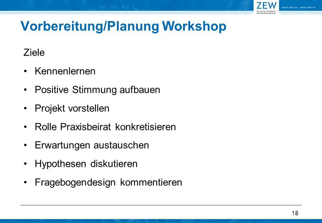 Vorbereitung/Planung Workshop