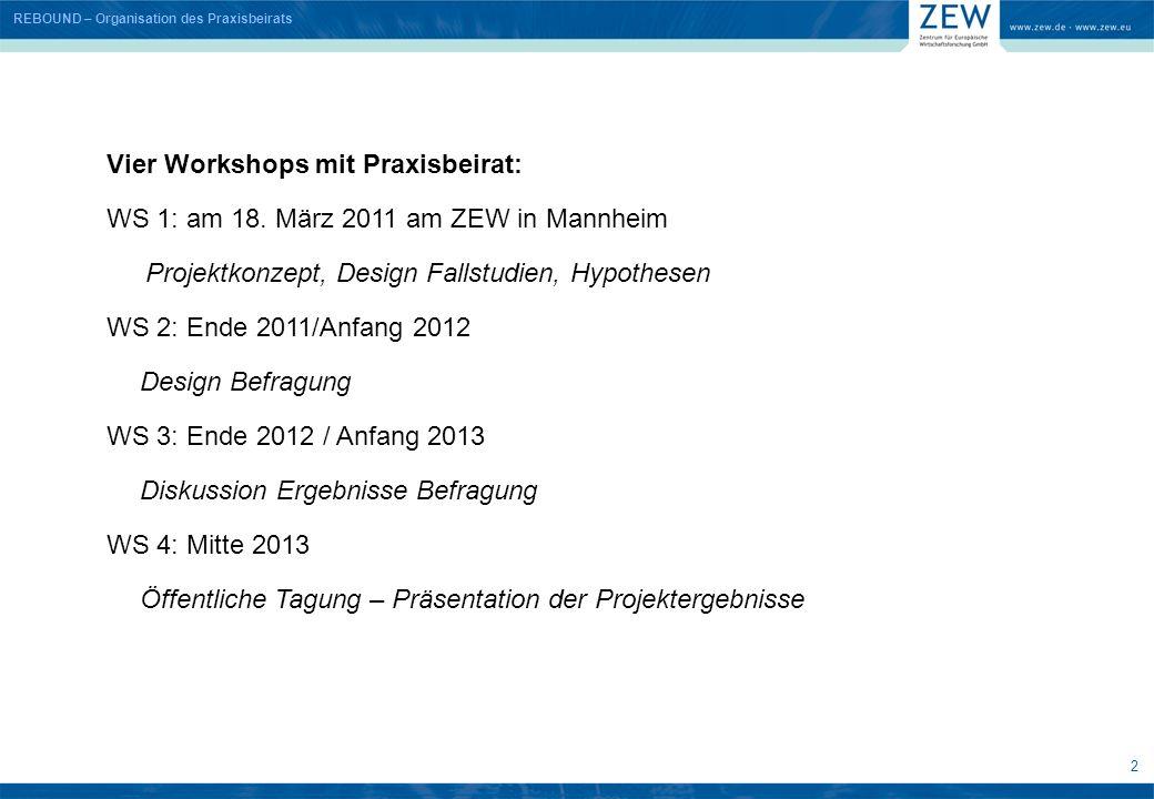 Vier Workshops mit Praxisbeirat: