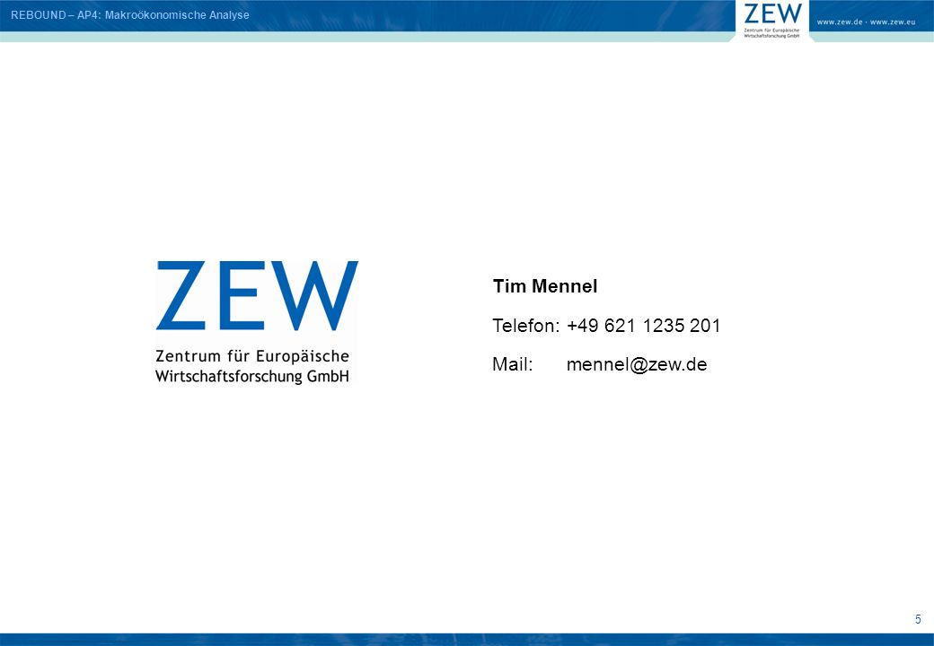 Tim Mennel Telefon: +49 621 1235 201 Mail: mennel@zew.de 5 5