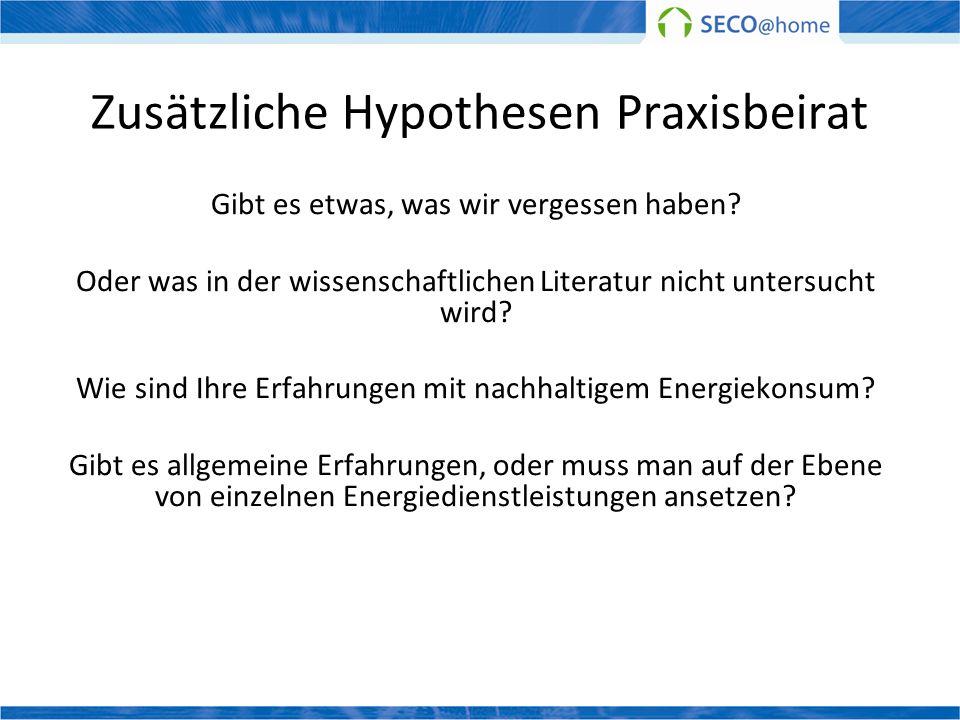 Zusätzliche Hypothesen Praxisbeirat