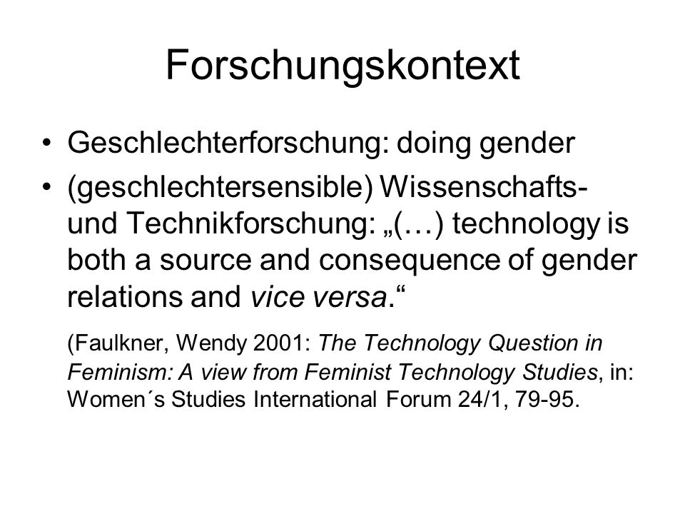 Forschungskontext Geschlechterforschung: doing gender