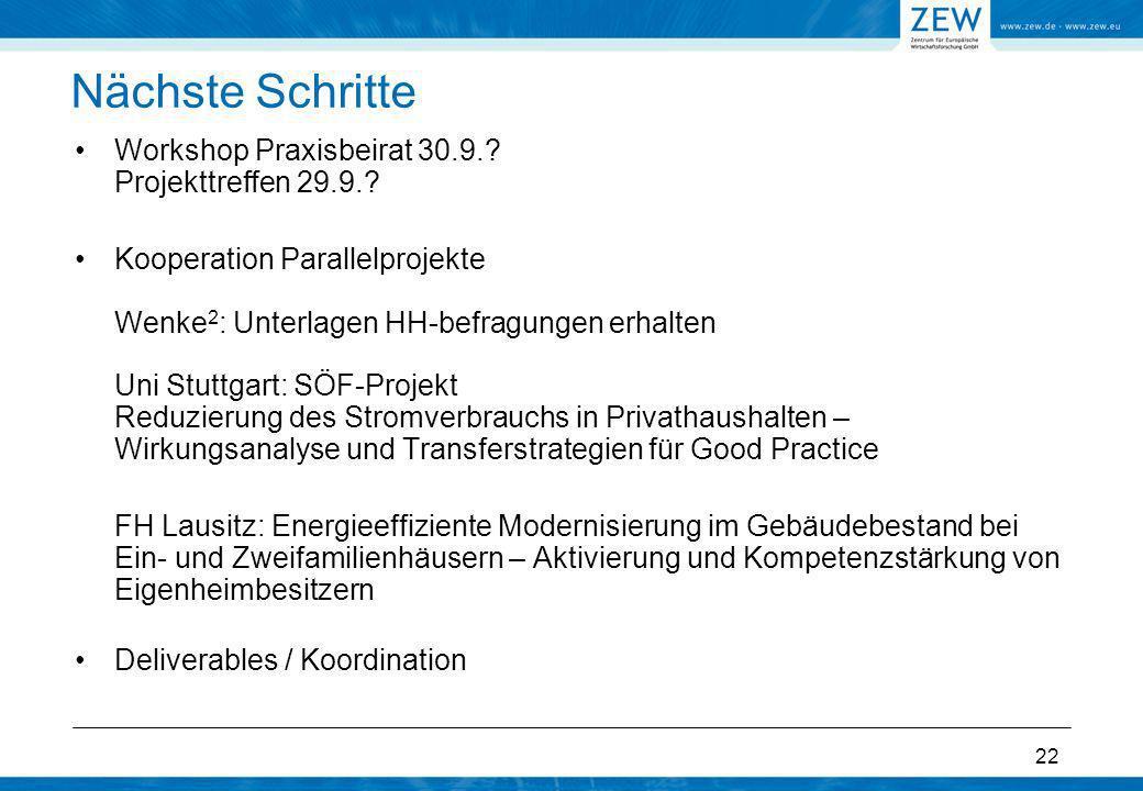 Nächste Schritte Workshop Praxisbeirat 30.9. Projekttreffen 29.9.