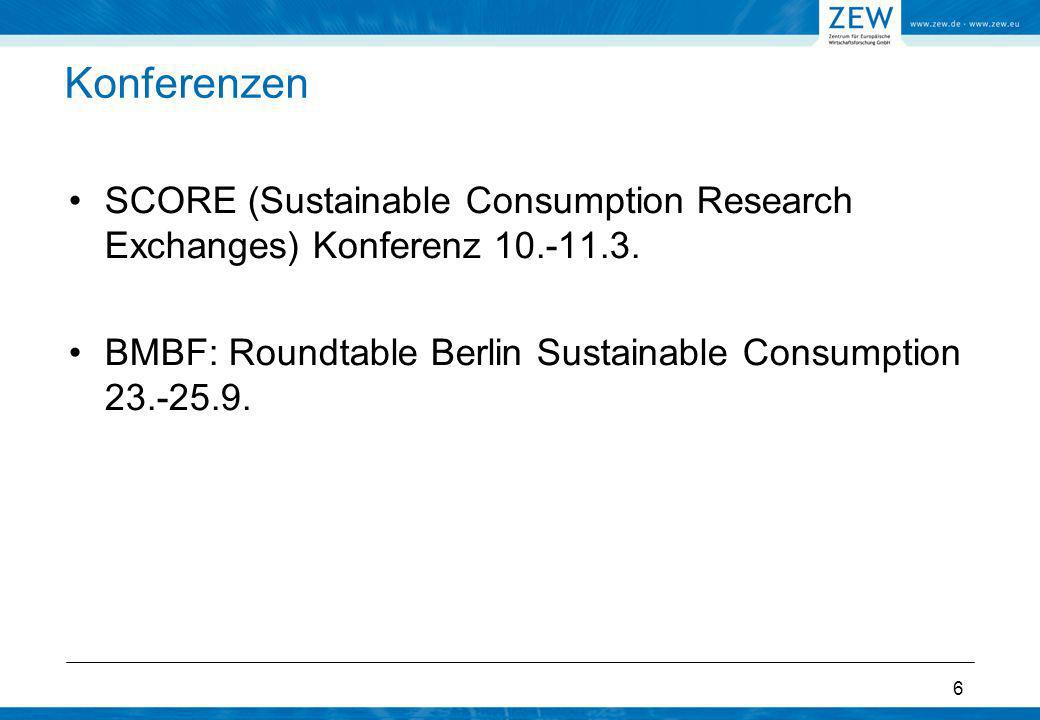 Konferenzen SCORE (Sustainable Consumption Research Exchanges) Konferenz 10.-11.3.