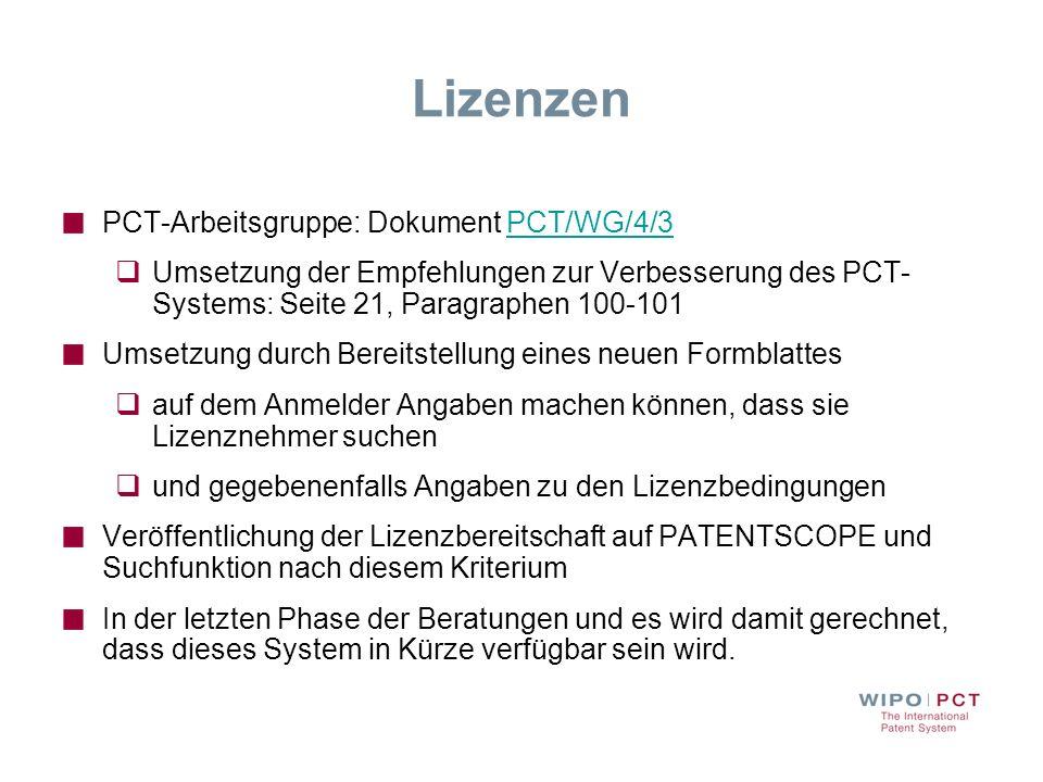 Lizenzen PCT-Arbeitsgruppe: Dokument PCT/WG/4/3