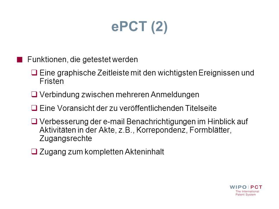 ePCT (2) Funktionen, die getestet werden