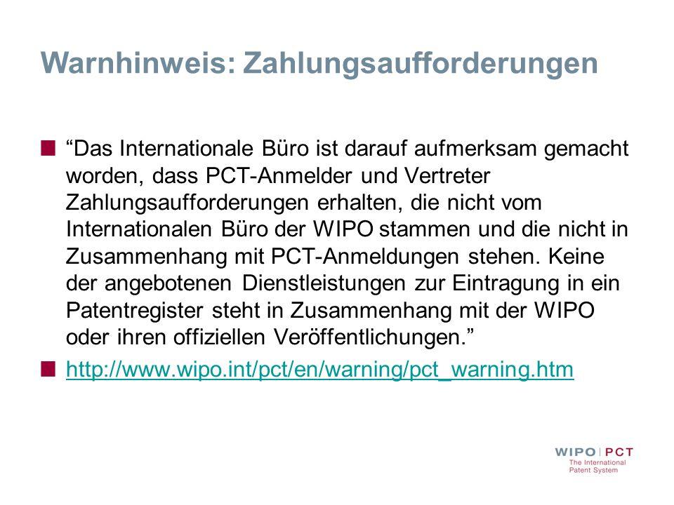 Warnhinweis: Zahlungsaufforderungen