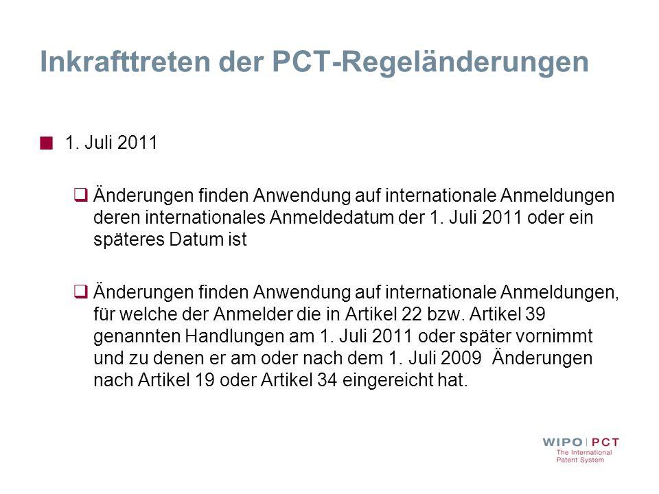 Inkrafttreten der PCT-Regeländerungen