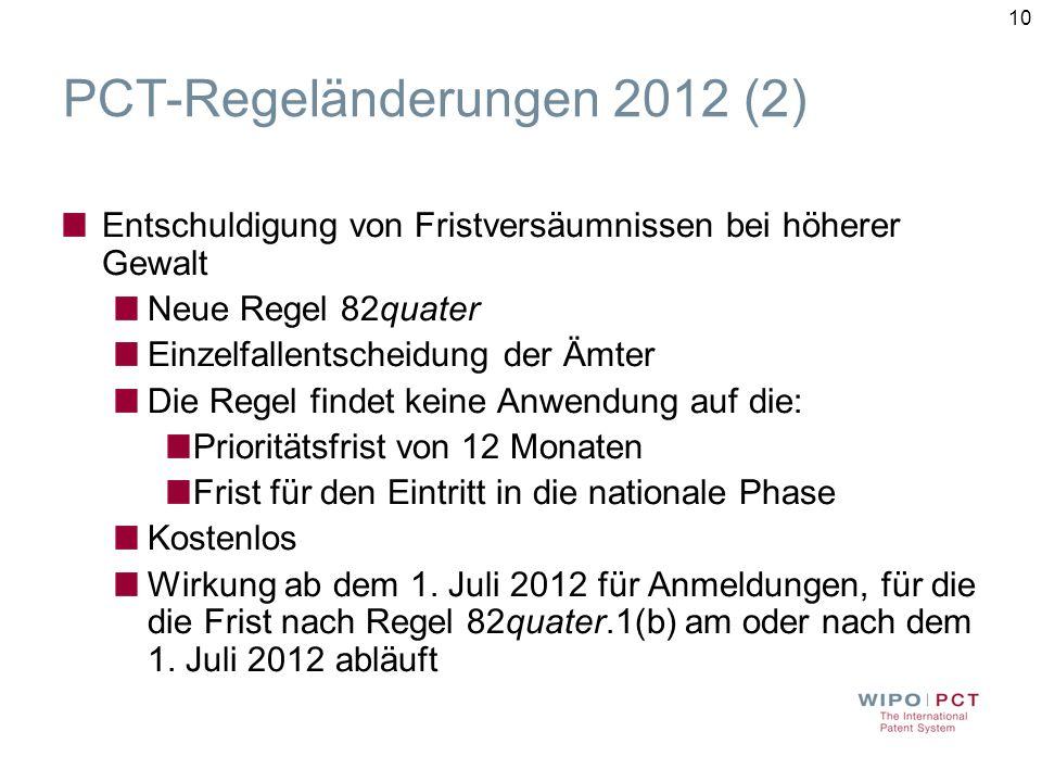 PCT-Regeländerungen 2012 (2)