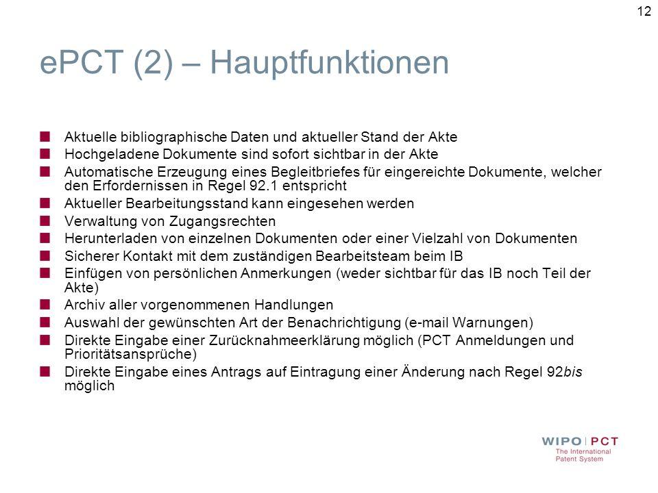ePCT (2) – Hauptfunktionen