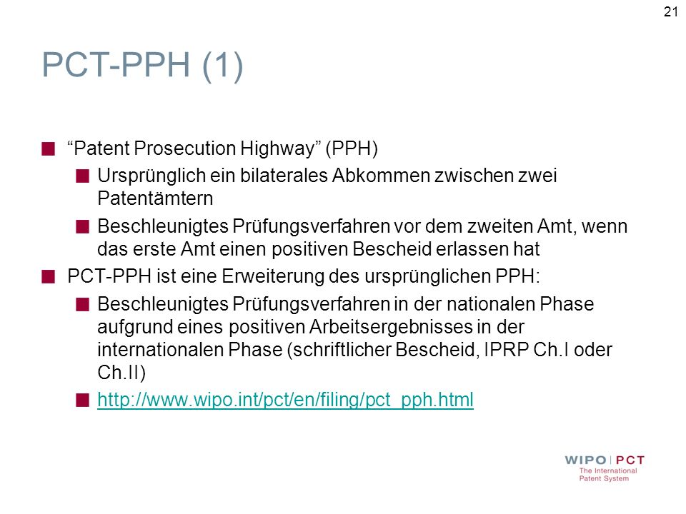 PCT-PPH (1) Patent Prosecution Highway (PPH)