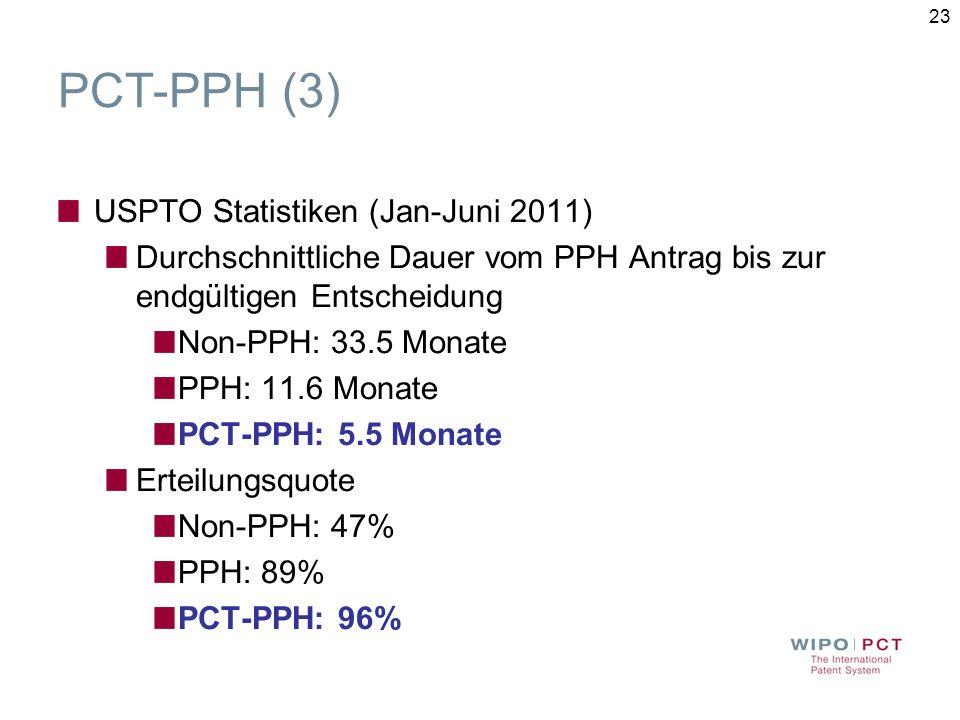 PCT-PPH (3) USPTO Statistiken (Jan-Juni 2011)