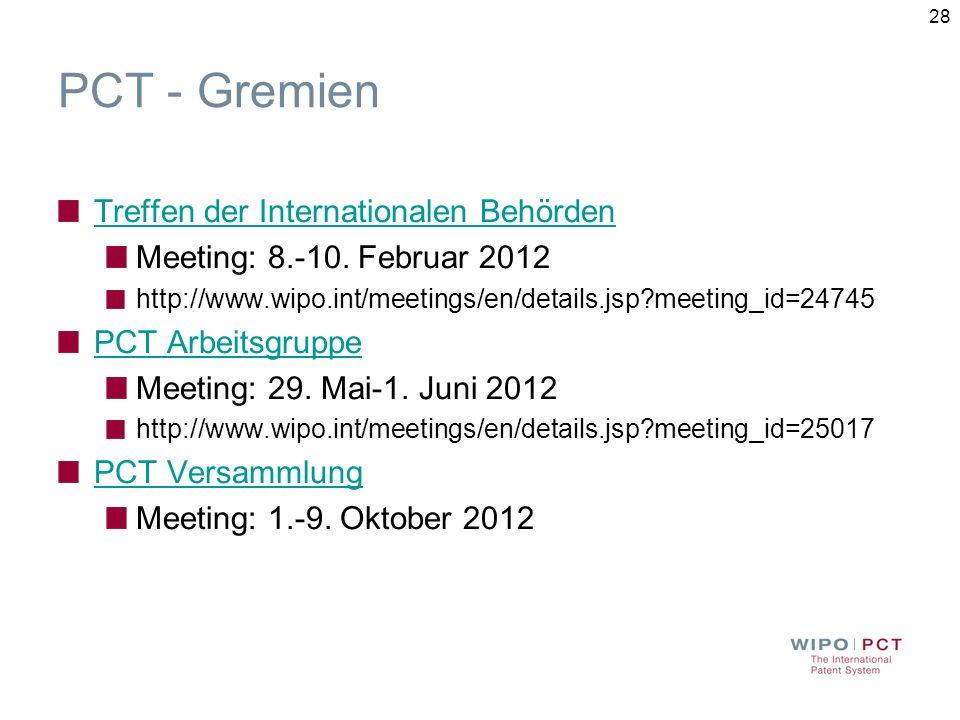 PCT - Gremien Treffen der Internationalen Behörden