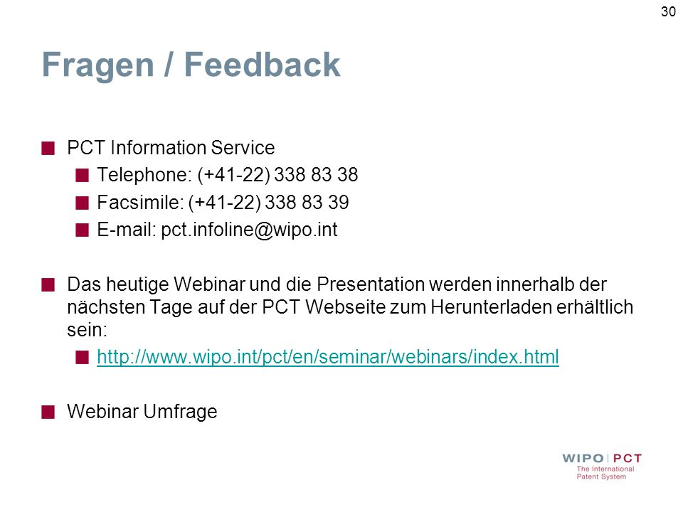 Fragen / Feedback PCT Information Service