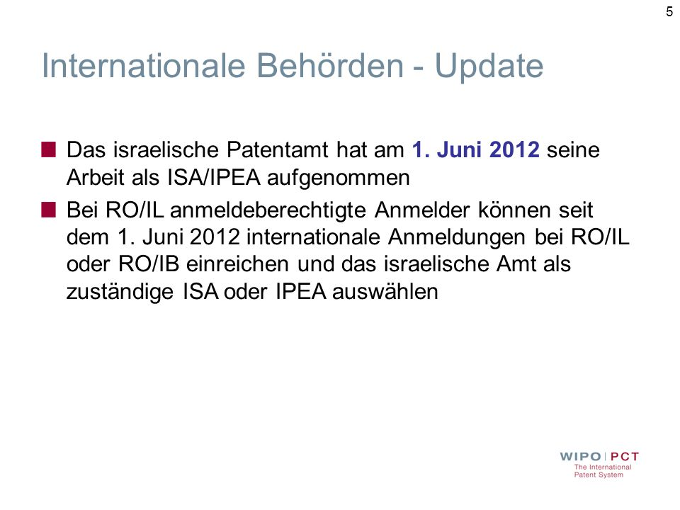 Internationale Behörden - Update
