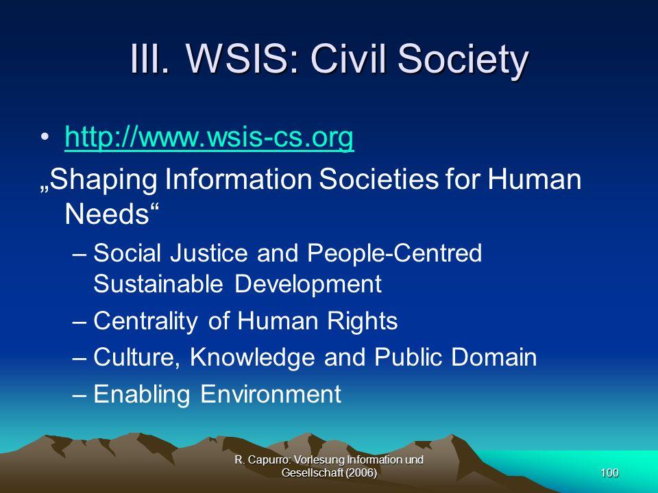 III. WSIS: Civil Society
