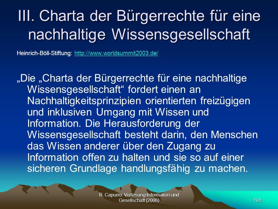 III. Charta der Bürgerrechte für eine nachhaltige Wissensgesellschaft