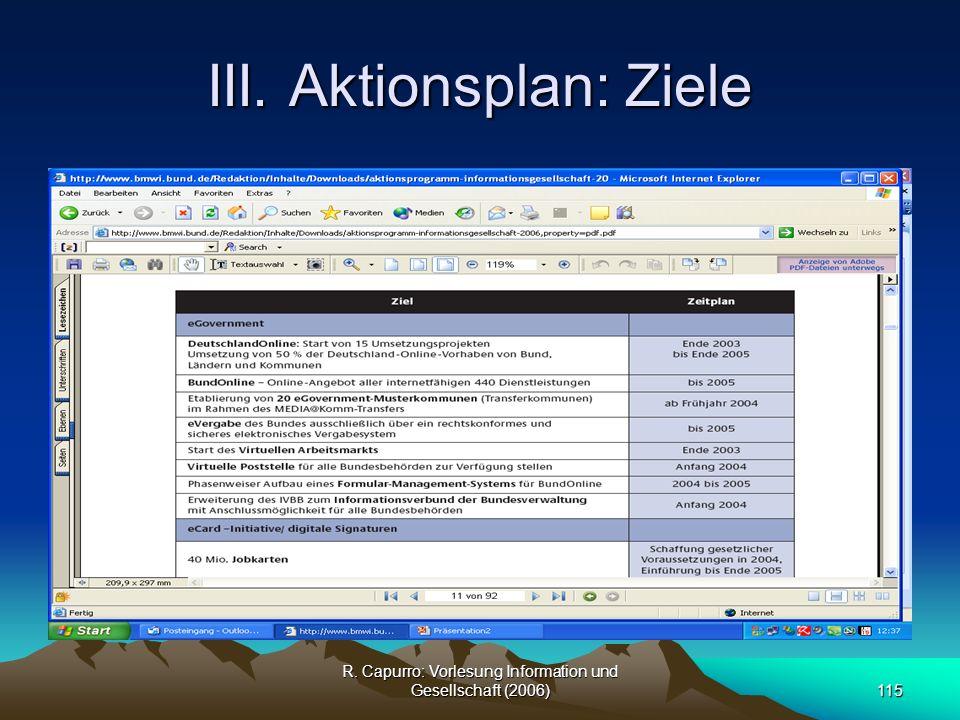 III. Aktionsplan: Ziele