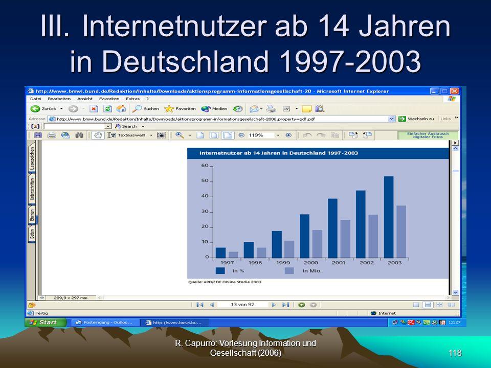 III. Internetnutzer ab 14 Jahren in Deutschland 1997-2003