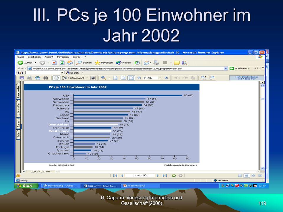 III. PCs je 100 Einwohner im Jahr 2002