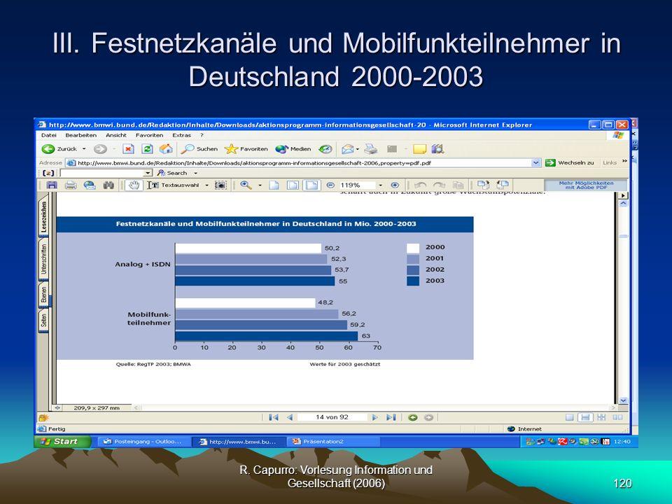 III. Festnetzkanäle und Mobilfunkteilnehmer in Deutschland 2000-2003