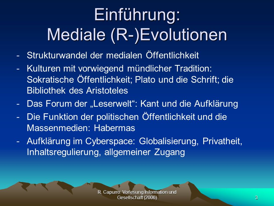 Einführung: Mediale (R-)Evolutionen