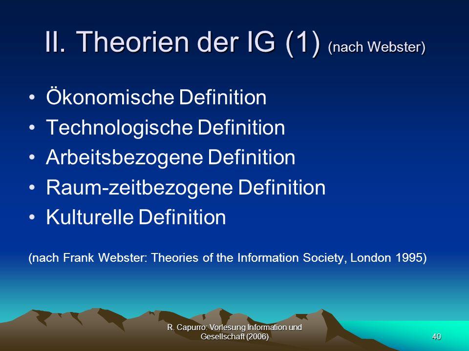 II. Theorien der IG (1) (nach Webster)