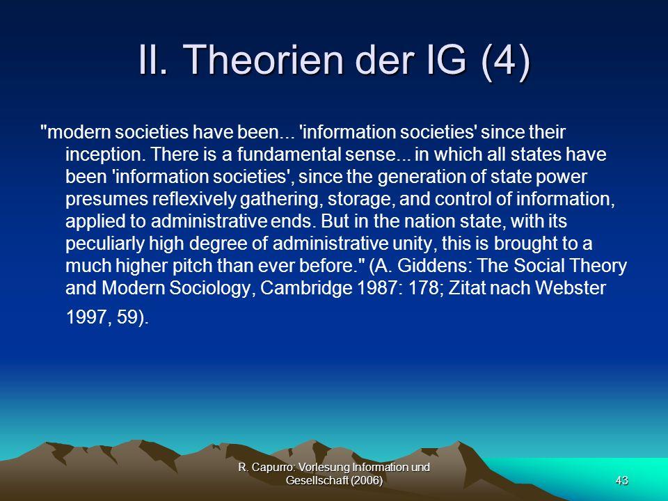 R. Capurro: Vorlesung Information und Gesellschaft (2006)