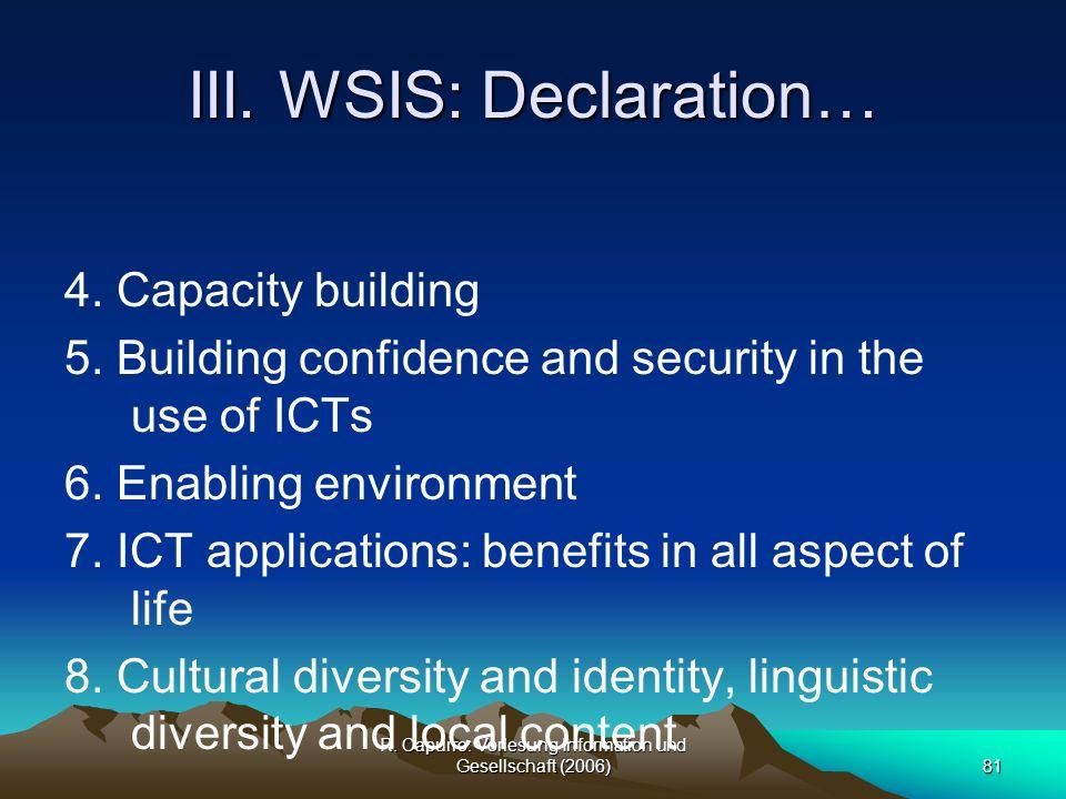 III. WSIS: Declaration…