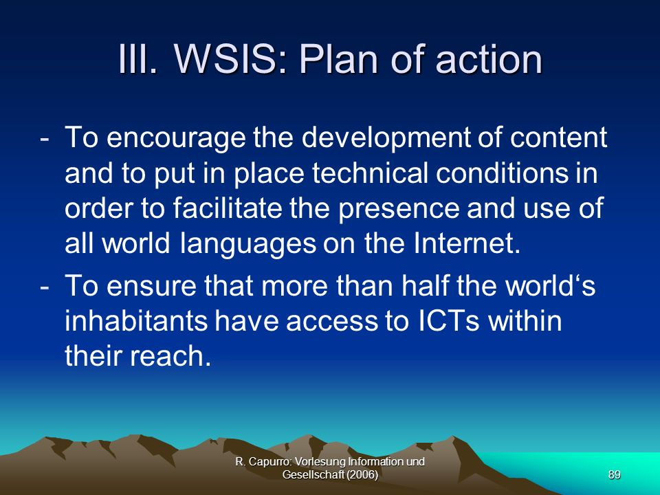 III. WSIS: Plan of action