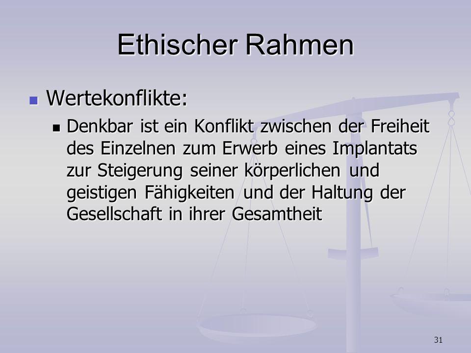 Ethischer Rahmen Wertekonflikte: