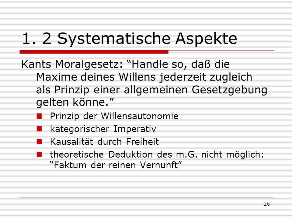 1. 2 Systematische Aspekte