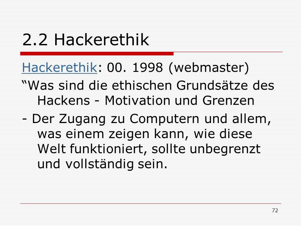 2.2 Hackerethik Hackerethik: 00. 1998 (webmaster)