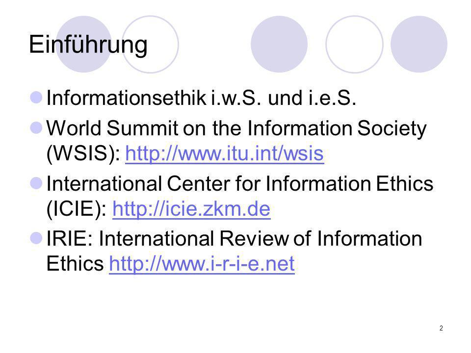Einführung Informationsethik i.w.S. und i.e.S.