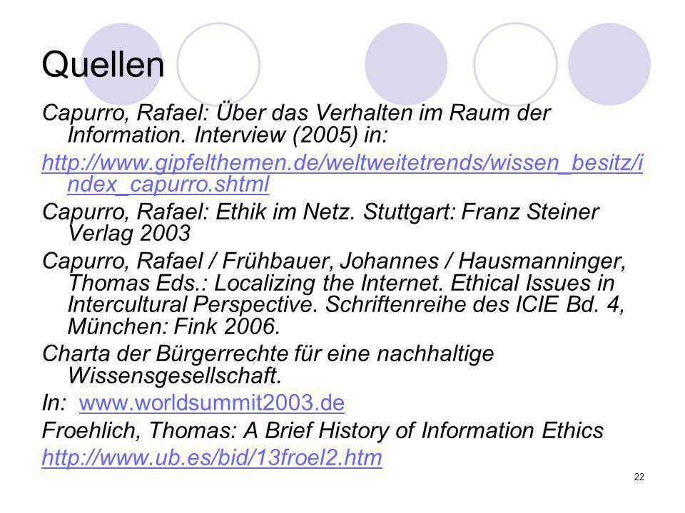 Quellen Capurro, Rafael: Über das Verhalten im Raum der Information. Interview (2005) in: