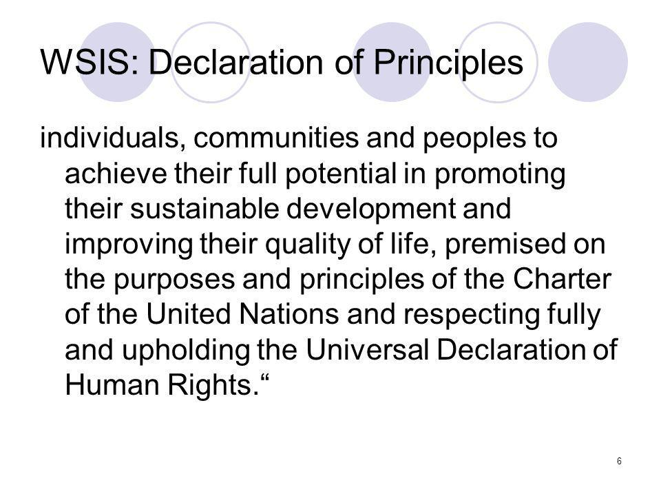 WSIS: Declaration of Principles