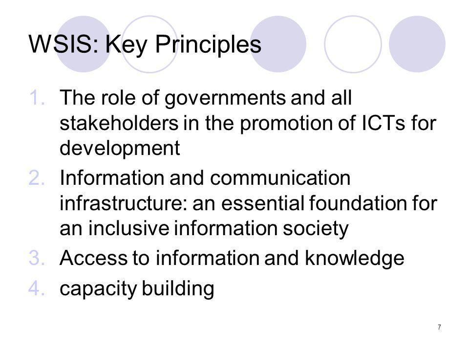 WSIS: Key Principles The role of governments and all stakeholders in the promotion of ICTs for development.