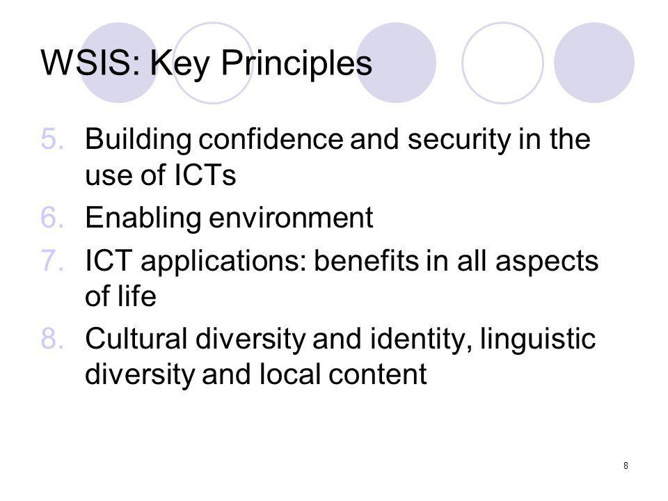 WSIS: Key PrinciplesBuilding confidence and security in the use of ICTs. Enabling environment. ICT applications: benefits in all aspects of life.