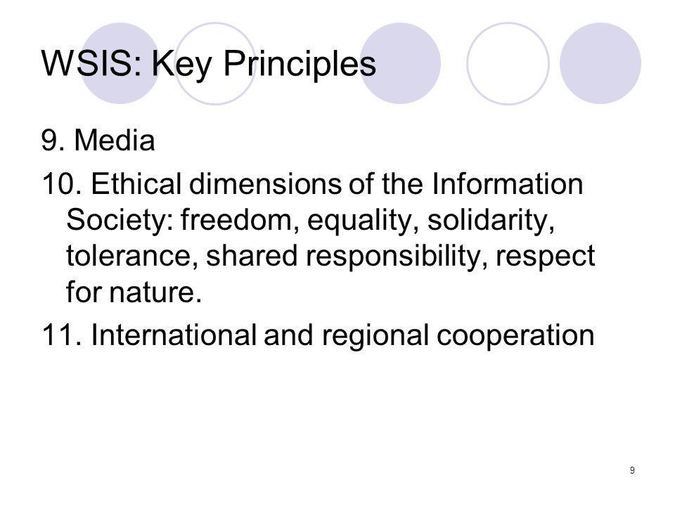 WSIS: Key Principles 9. Media