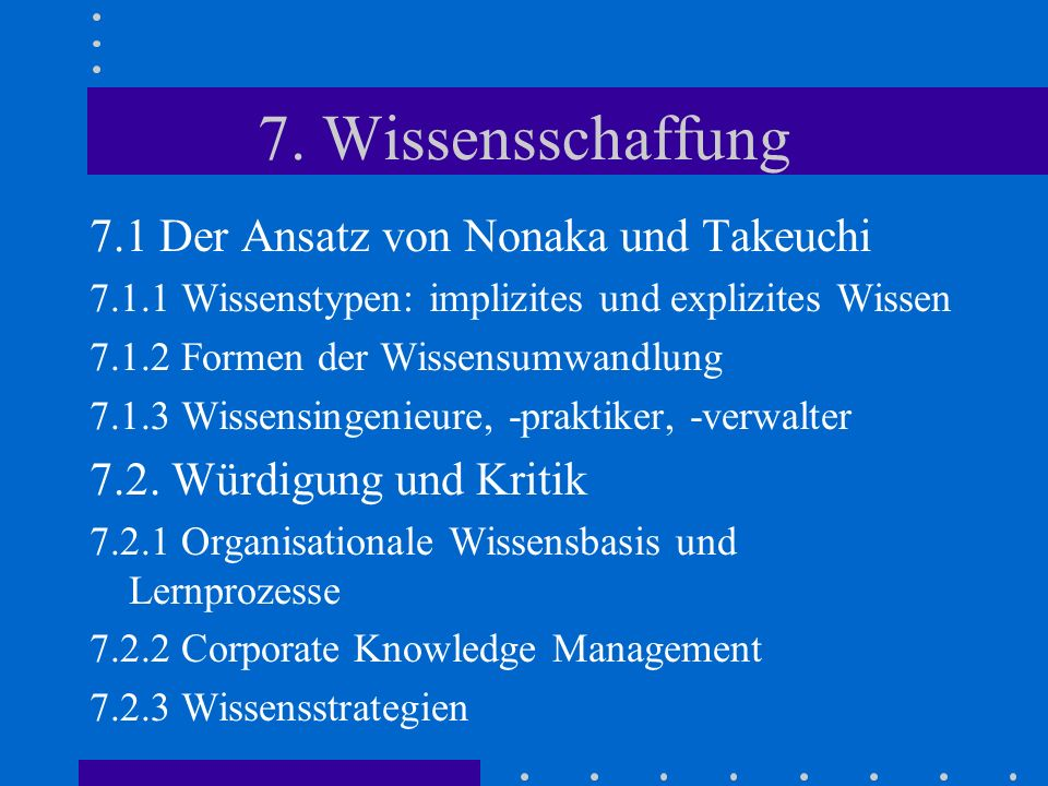 7. Wissensschaffung 7.1 Der Ansatz von Nonaka und Takeuchi