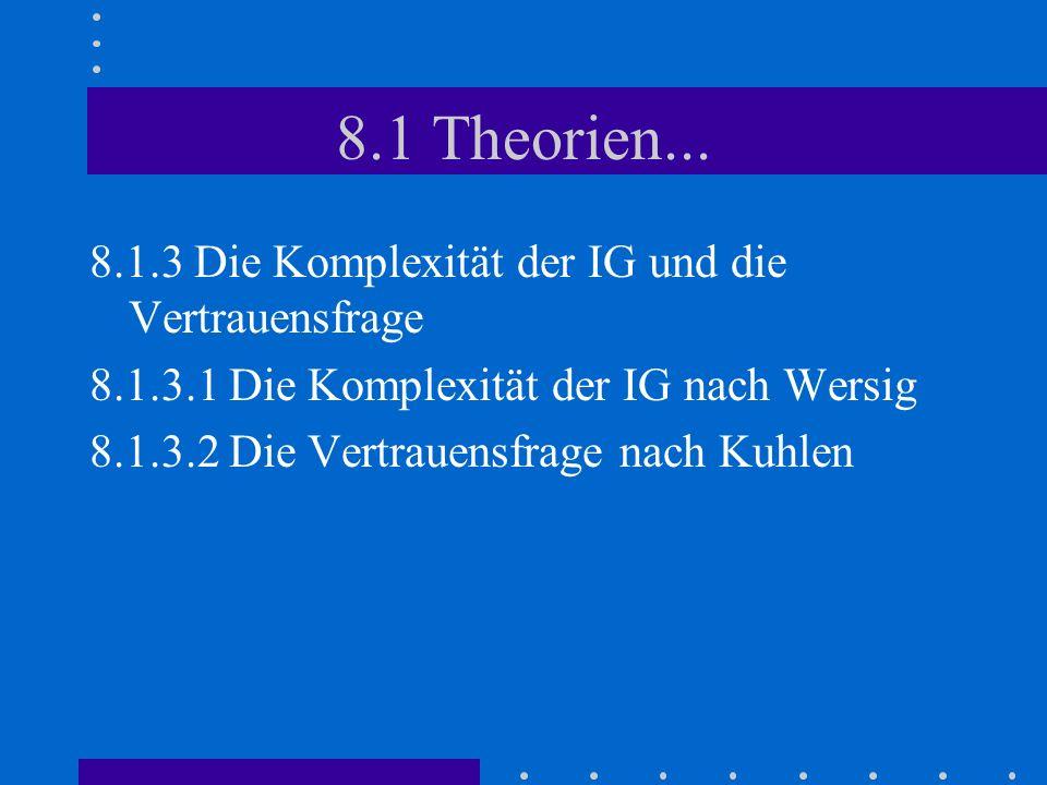 8.1 Theorien... 8.1.3 Die Komplexität der IG und die Vertrauensfrage