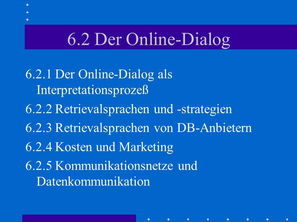 6.2 Der Online-Dialog 6.2.1 Der Online-Dialog als Interpretationsprozeß. 6.2.2 Retrievalsprachen und -strategien.