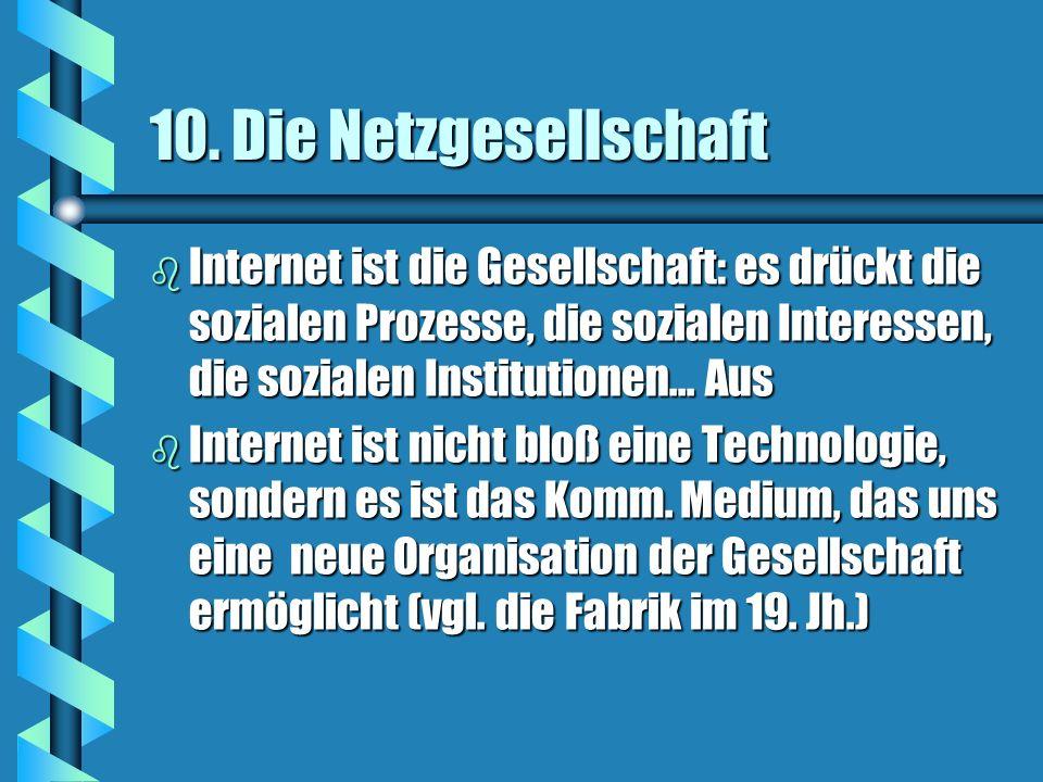 10. Die Netzgesellschaft Internet ist die Gesellschaft: es drückt die sozialen Prozesse, die sozialen Interessen, die sozialen Institutionen... Aus.