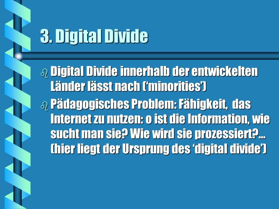3. Digital Divide Digital Divide innerhalb der entwickelten Länder lässt nach ('minorities')