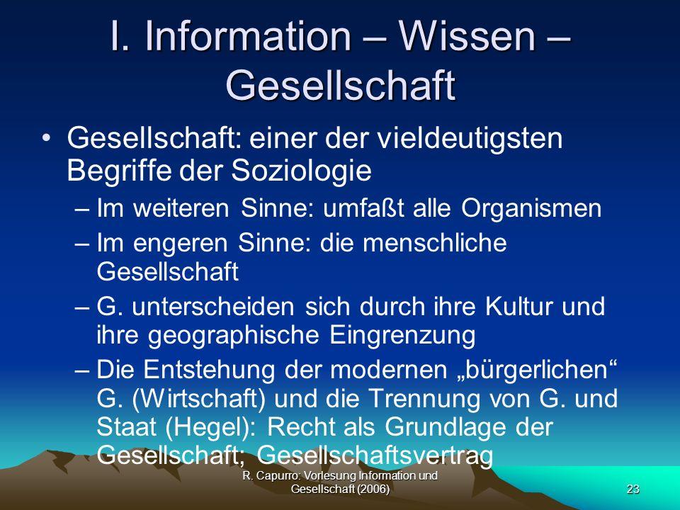 I. Information – Wissen – Gesellschaft