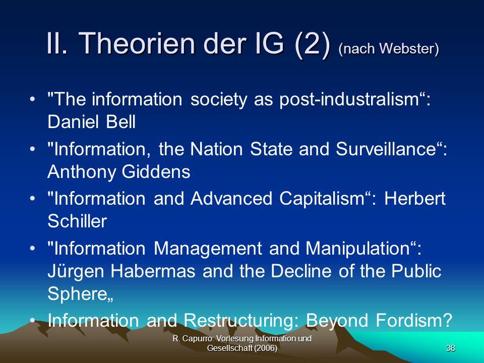 II. Theorien der IG (2) (nach Webster)