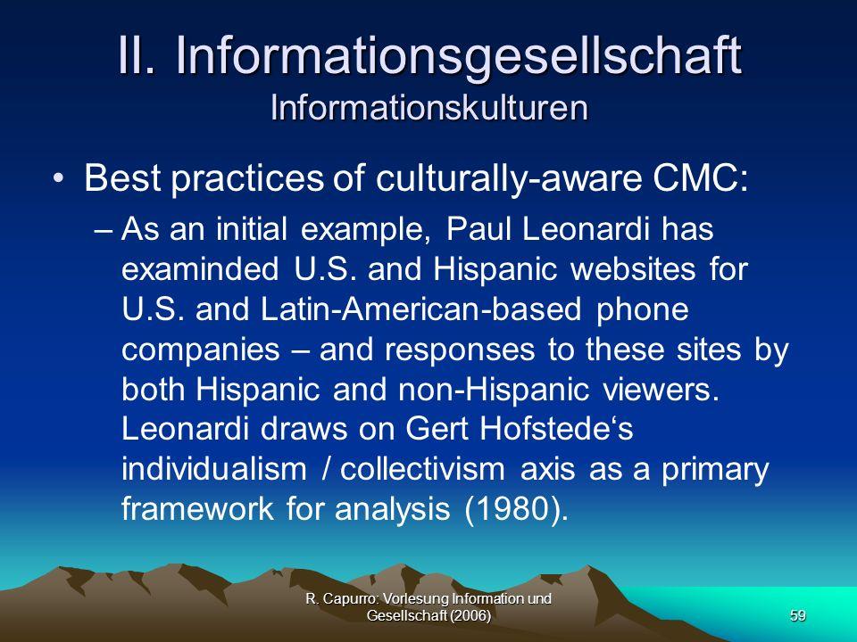 II. Informationsgesellschaft Informationskulturen
