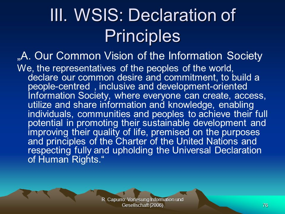 III. WSIS: Declaration of Principles